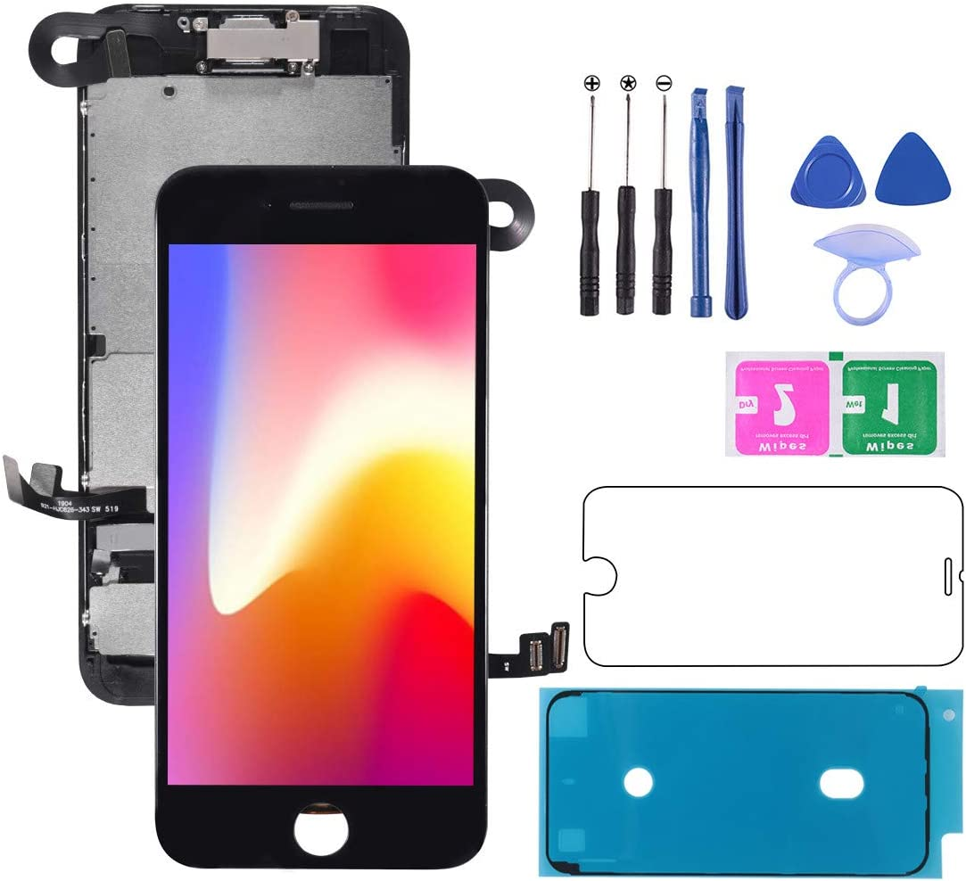 D-FLIFE Screen Replacement for iPhone 8 (4.7 inch) 3D Touch LCD Complete Repair LCD Touch Digitizer Display Glass,with Waterproof Adhesive,Tempered Glass,Tools (Black)