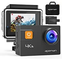 APEMAN Action Camera 4K 20MP WiFi Ultra HD Underwater Waterproof 40M Sports Camcorder with 170 Degree EIS Sony Sensor, 2 Upgraded Batteries, Portable Carrying Bag and 24 Mounting Accessories Kits