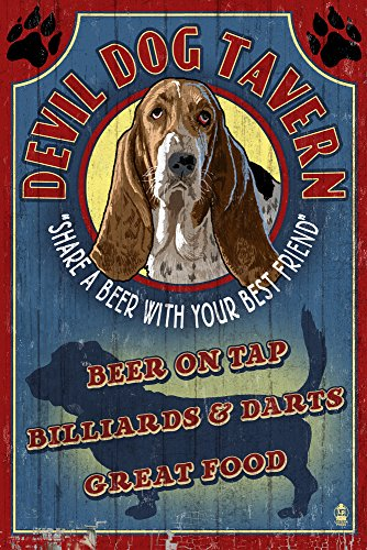 - Devil Dog Tavern Vintage Sign - Basset Hound (9x12 Art Print, Wall Decor Travel Poster)