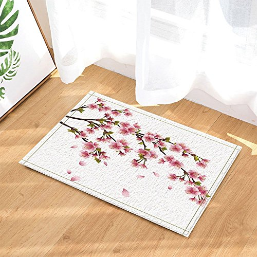 Natural Spring Flowers Decor Cherry Blossoms with Leaves in White Bath Rugs Non-Slip Doormat Floor Entryways Indoor Front Door Mat Kids Bath Mat 15.7x23.6in Bathroom Accessories ()