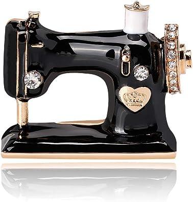 YANANN Pernos de Broche de Cristal de máquina de Coser de Color Negro para niñas Mujeres joyería Nupcial de Boda: Amazon.es: Joyería