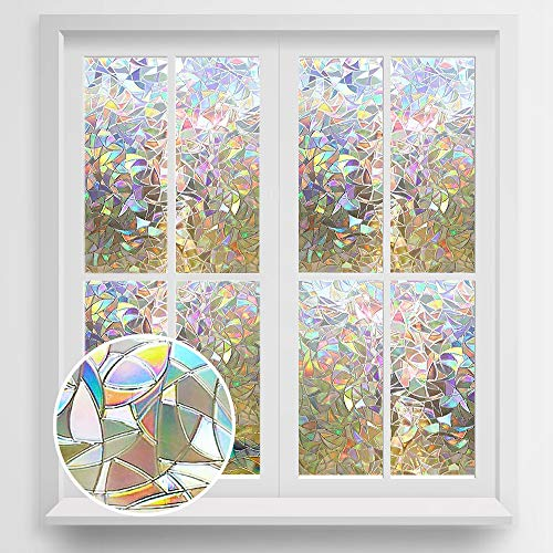 "Rabbitgoo 3D No Glue Static Decorative Films Glass Window Film Anti UV 17.7"" X 78.7"" (45 X 200cm)"