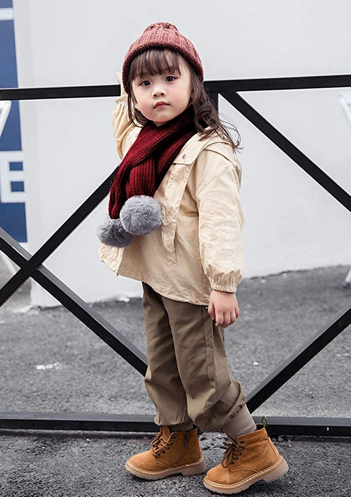 Unisex Kid Knitted Scarf Neck Warmer Children Winter Thermal Neck Collar Toddler Cute Pom Pom Warm Windproof Neckerchief
