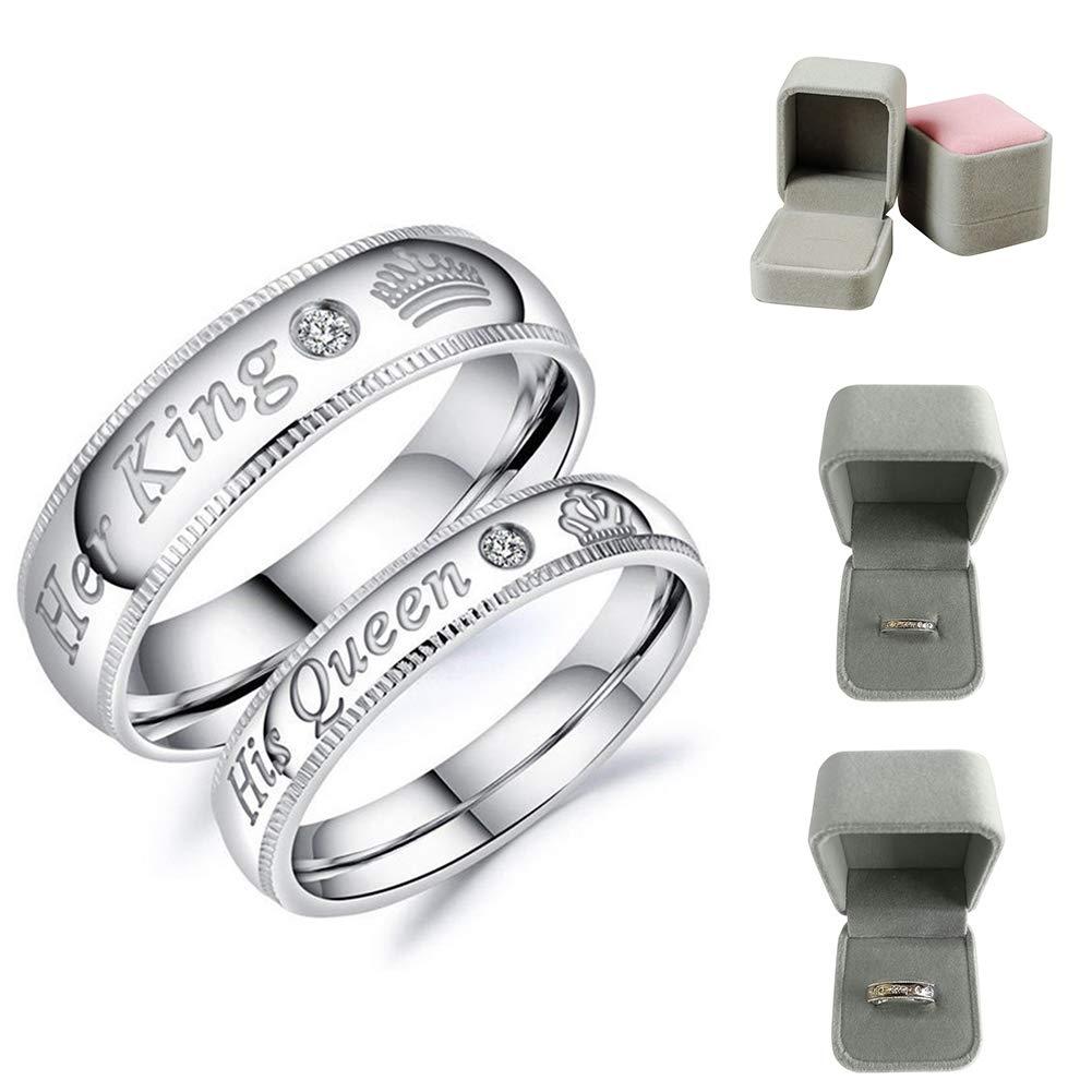 Alamana Her King His Queen Rhinestone Metal Couple Ring Jewelry Women's US 6