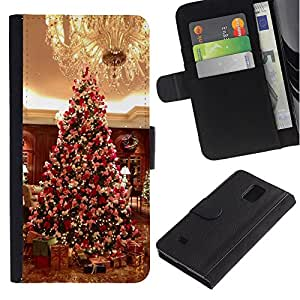 All Phone Most Case / Oferta Especial Cáscara Funda de cuero Monedero Cubierta de proteccion Caso / Wallet Case for Samsung Galaxy Note 4 IV // Christmas Tree American Gifts Chandelier