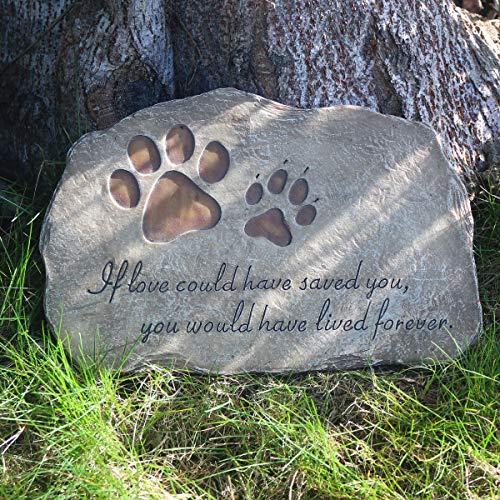 jinhuoba Dog Memorial Stone, Indoor Outdoor Dog or Cat for Garden Backyard Marker Grave Tombstone. Hand-Printed Personalized Loss of Pet Gifts (Markers Pet Tombstones)