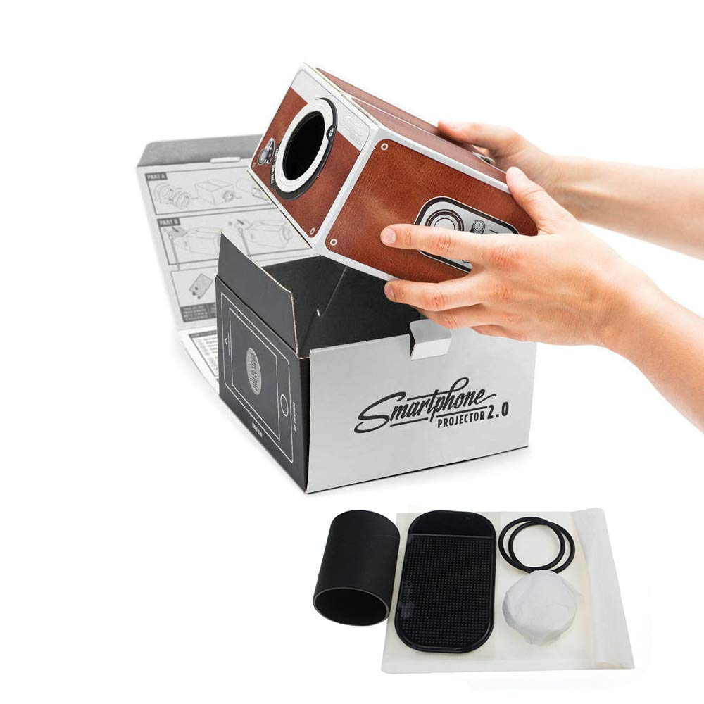 Aoile DIY 3D Projector Cardboard Mini Smartphone Projector Light Novelty Adjustable Mobile Phone Projector Portable Cinema