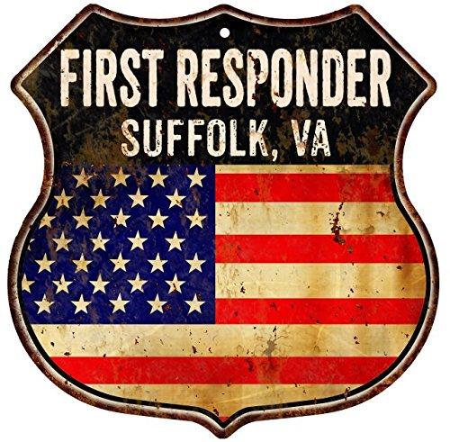 Great American Memories SUFFOLK, VA First Responder American Flag 12x12 Metal Shield Sign ()