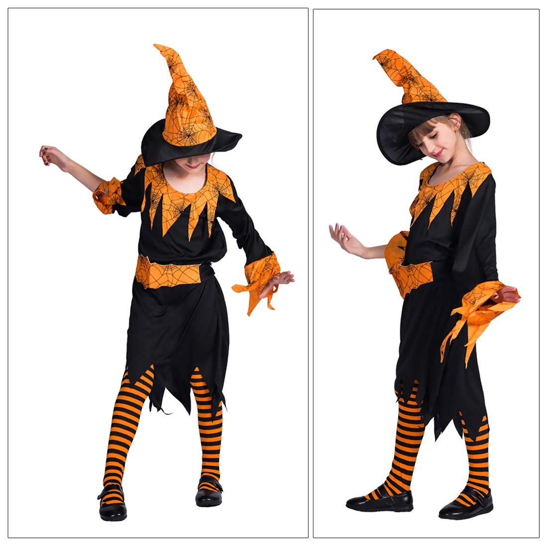 Little Girls Long Sleeve Halloween Pumpkin Witch Dress Up Set Cosplay Outfit L for 12-14 Y by Eraspooky (Image #6)