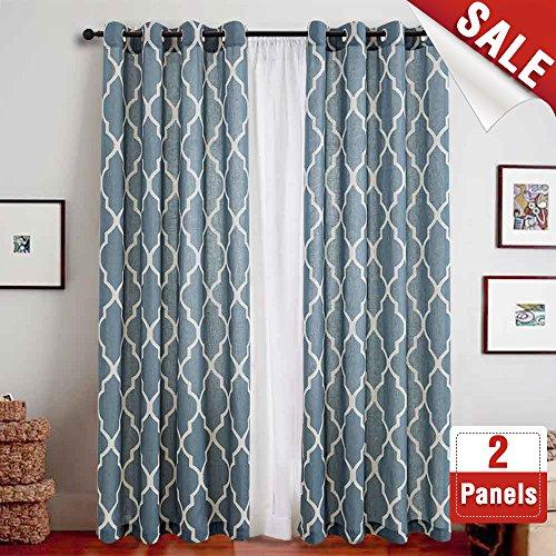 Moroccan Lattice (Print Curtains 84 inch Lattice Moroccan Tile Flax Linen Blend Curtain Textured Grommet Quatrefoil Window Treatment Set for Living Room Kitchen - (Blue, Set of 2 Panels))