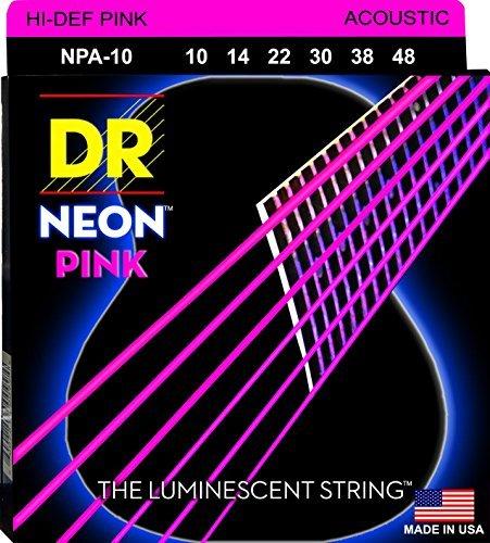 (DR NPA-10 Neon Pink Acoustic Guitar Strings)
