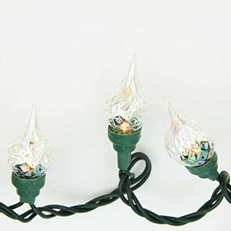 set of 35 clear facted flame tip glass bulb c5 christmas lights green wire - C5 Christmas Lights
