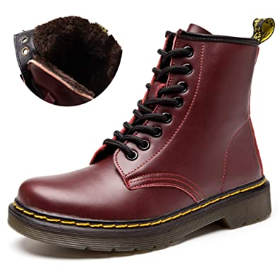 9d6f33f36b fereshte Women's Leather Motorcycle Combat Boots Lace-up Flat Ankle Bootie  Cherry Fleece EU35