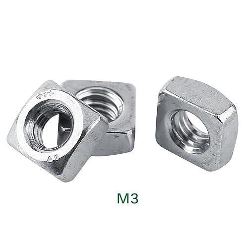 AERZETIX 100x Tuercas cuadradas M3 5.5mm H1.8mm DIN562 acero galvanizado C19176