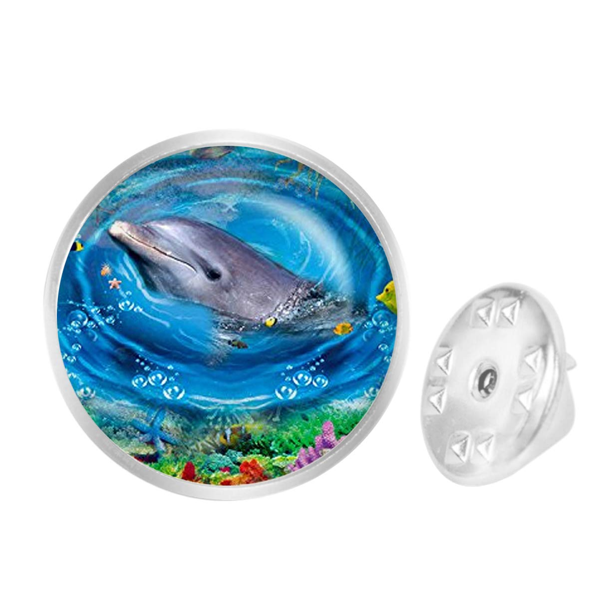 WAZZIT Round Metal Tie Tack Hat Lapel Pin Brooches Friendly Beautiful Dolphin Seabed Banquet Badge Enamel Pins Trendy Accessory Jacket T-Shirt