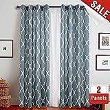 Print Curtains 84 Inch Lattice Moroccan Tile Flax Linen Blend Curtain  Textured Grommet Quatrefoil Window Treatment