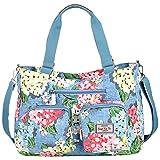 Vbiger Nylon Handbag Casual Messenger Bag Large-capacity Shoulder Bag Travel Tote Bag for Women (Floral Sky Blue)