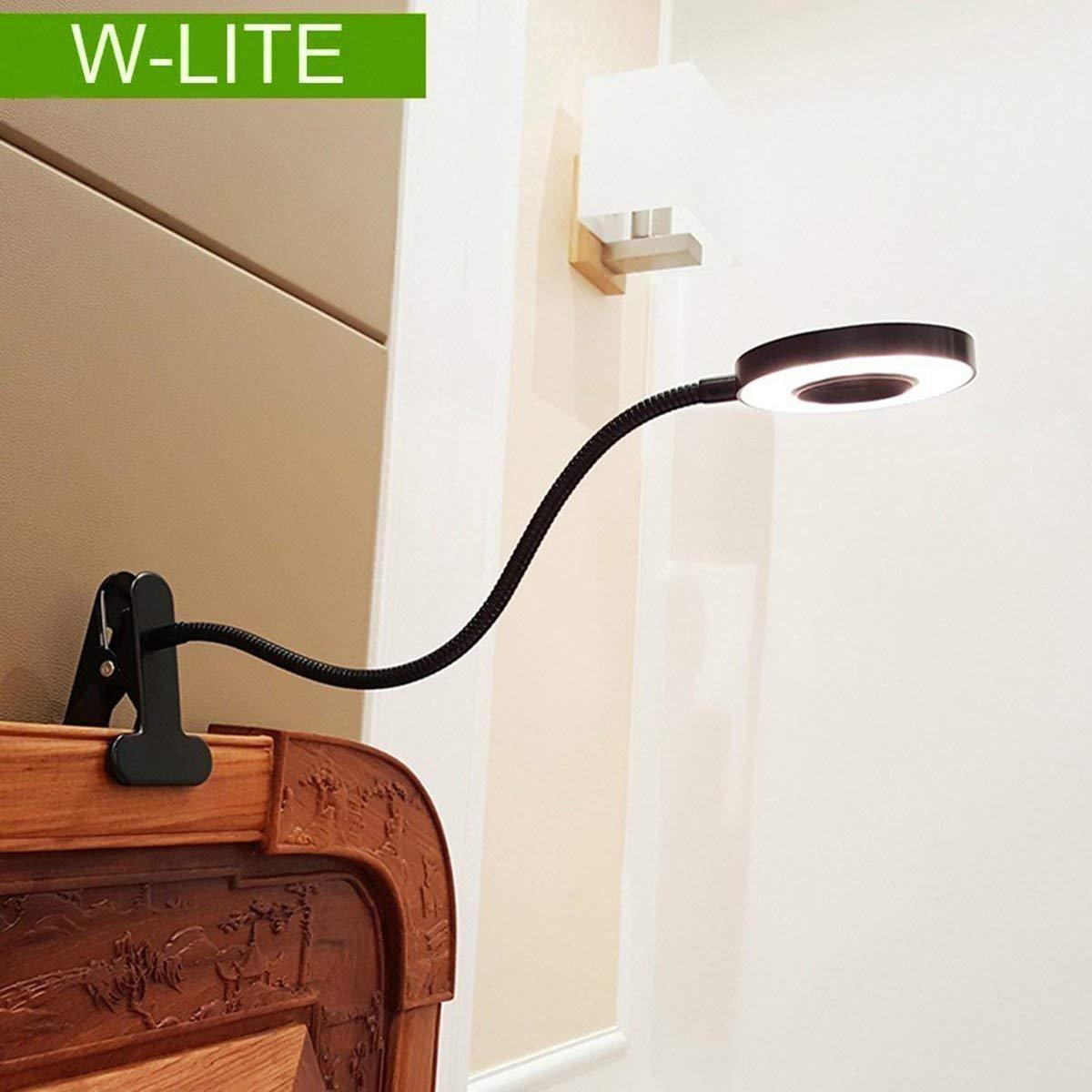 Lámpara flexo con pinza, Protección ocular, Funciona con USB, Se puede girar por 360 grados, Lámpara de mesa con brillo ajustable-Blanco frío y cálido, 6W Entrada 86-265V (negro) W-LITE