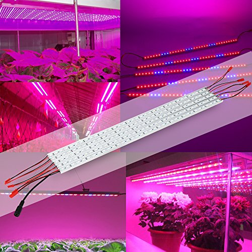 LVJING 50WGrow Light Strip 1.64ft, 5 Pack LED Grow Light Bar and Plant Light for Indoor Plants Gardening Hydroponics Greenhouse(Without Adapter)