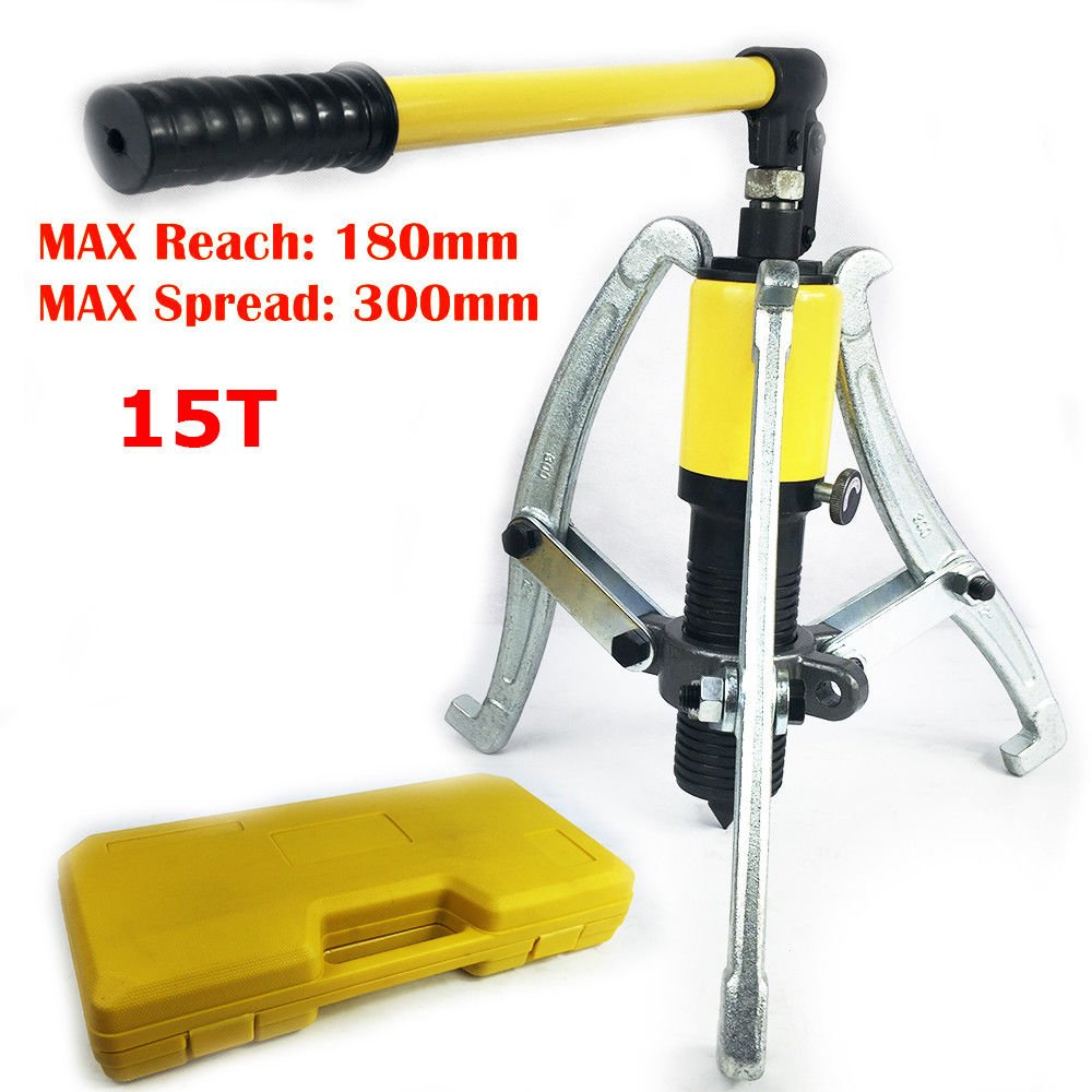 15T Multi-Function Hydraulic Pump Puller Kit Yellow Reach 180mm Spread 300mm Puller-3 Reversible Jaws Extractor Box