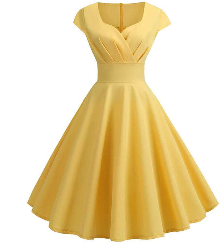 Yellow Short Sleeve Dress Hepburn 50s 60s Vintage Pin Up Rockabilly Robe Elegant Dress