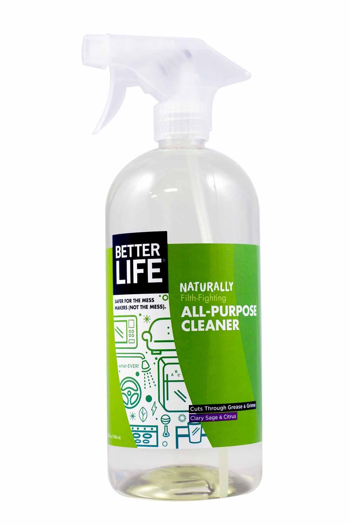 Better Life Natural All-Purpose Cleaner, Safe Around Kids & Pets, Clary Sage & Citrus, 32 Ounces (Pack of 2)