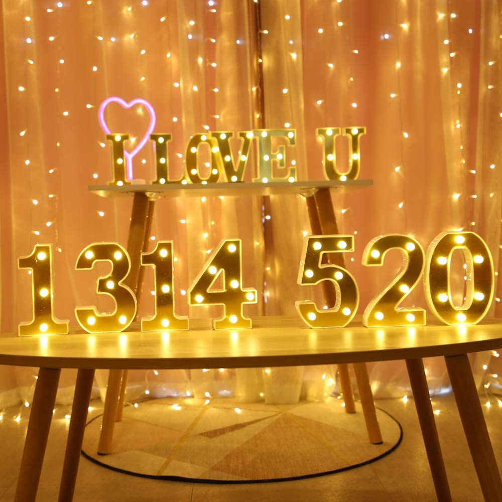 F HONPHIER/® Letter Lights Decorative LED Alphabet Lights Golden Color Marquee Decoration Light Up Sign Night Light Battery Operated for Birthday Party Wedding Holiday Bar Home Bedroom Decor