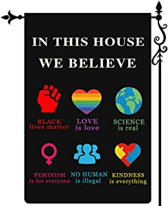 Coskaka in This House We Believe Garden Flag Black Lives Matter Flag BLM Love is Love Garden Flag Vertical Double Sided Burlap Porch Sign Yard Lawn Outdoor Decor 12.5x18 Inch