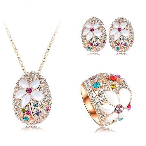 e67746b3ece0 AnaZoz Joyería de Moda Juegos de Joyas de Mujer Juego de Flor 18K Chapado  en Oro Rosa Cristal Colgante Collar/Pendiente/Anillo