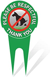 HEIOKEY Double Sided No Dog Pooping Sign with Stake 12