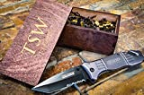 Custom Tactical Knife & Personalized Wooden Box– Engraved Wood Groomsmen Gift Boxes w/Pocket Knives- Groomsman Set Hunting Man Mens Boyfriend Wedding Gifts Folding Glass Breaker Assisted Open For Sale