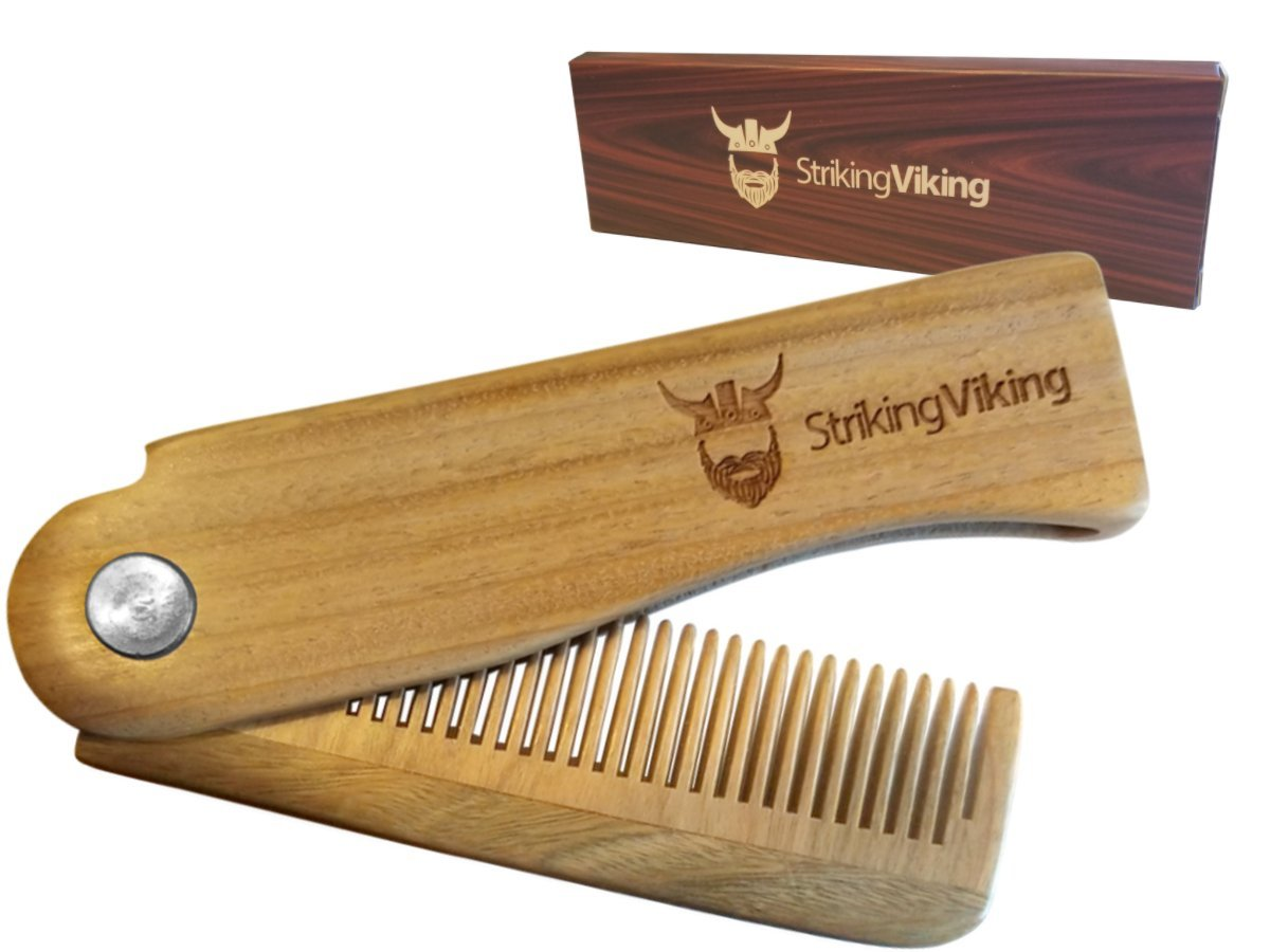 Folding Wood Comb by Striking Viking - Great for Head Hair and Beards - Anti-Static Wooden Styling Comb for Men