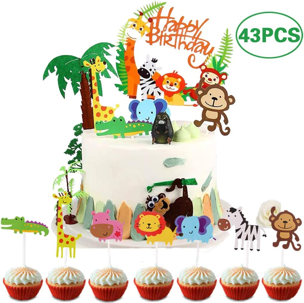 Jungle Theme Animal Cake Topper,28 Piezas Animales Cupcake Toppers para ni/ños Decoraci/ón de cumplea/ños Baby Shower Party