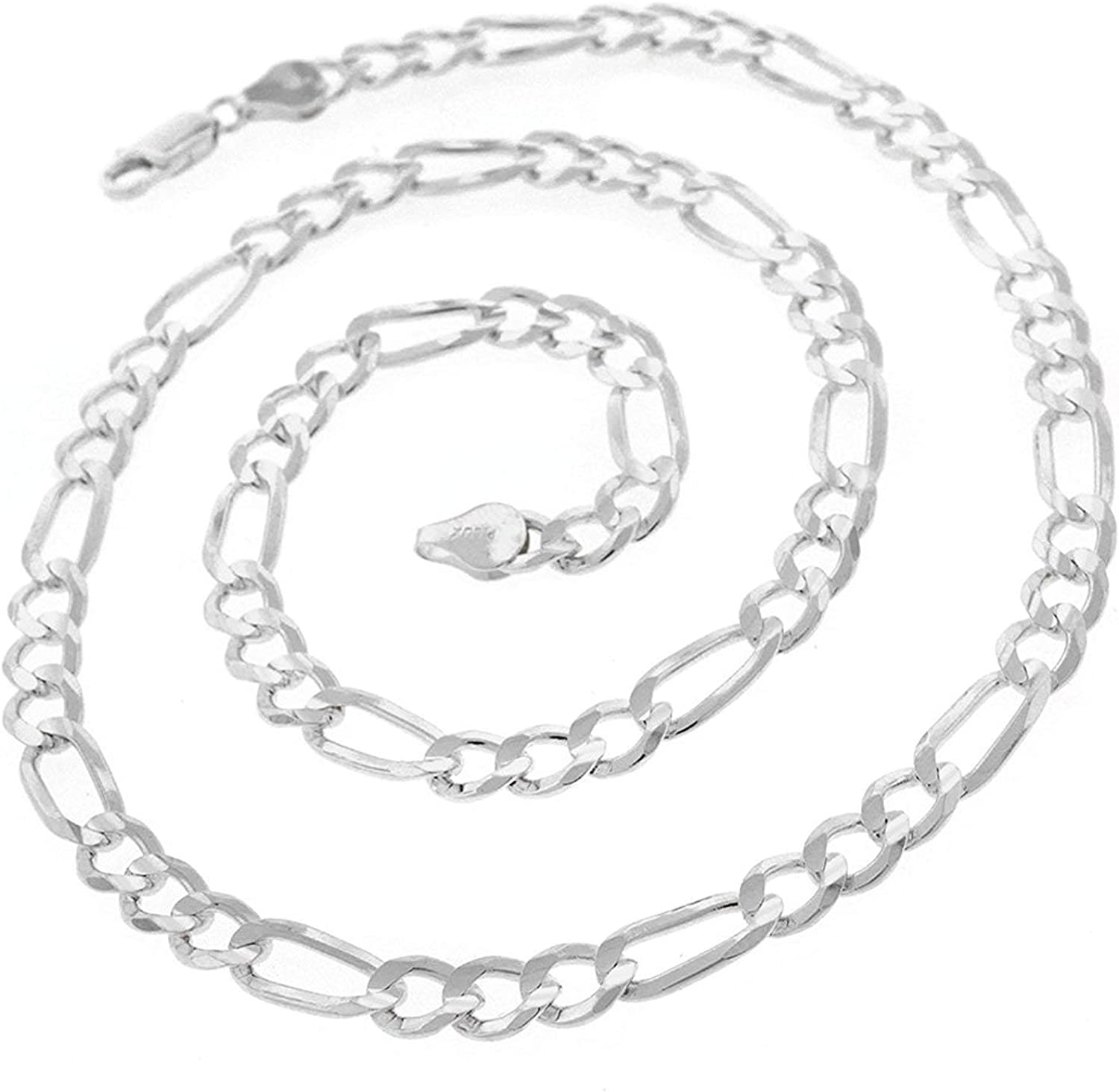 10.5MM Made In Italy 16-30 Men /& Women In Style Designz .925 Solid Sterling Silver Figaro Link ITProLux Necklace Chains 2MM