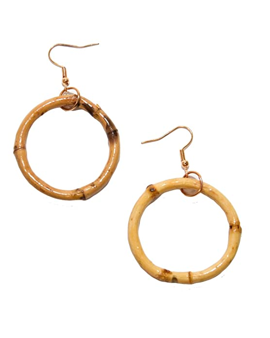 Vintage Style Jewelry, Retro Jewelry Sidecca Tiki Pinup Natural Bamboo Hoop Dangle Earrings $10.00 AT vintagedancer.com