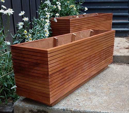 Tall Modern Mahogany Planter Boxes, Mid Century Modern, Free Shipping, Fits Five Gallon Buckets, Custom Wood Planter Boxes. 10 - 50 Gallon (Patio Tahoe Furniture)