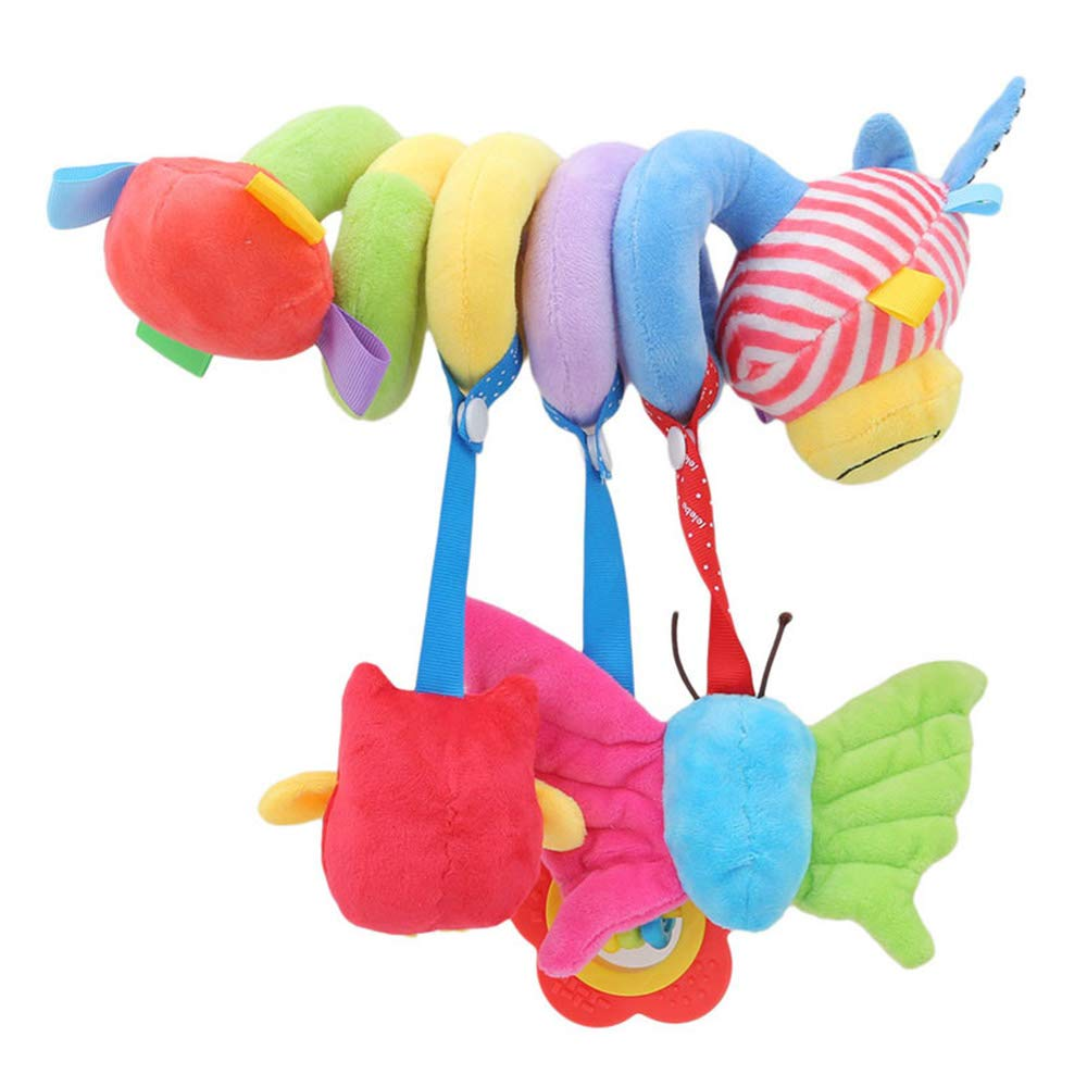 GRACEON Deer Cartoon Stroller Arch Rattles Hanging Cute Plush Animals Style Bed Around for Baby Education Toy Spiral Wrap Around Crib Bed,Bed Hanging Toys