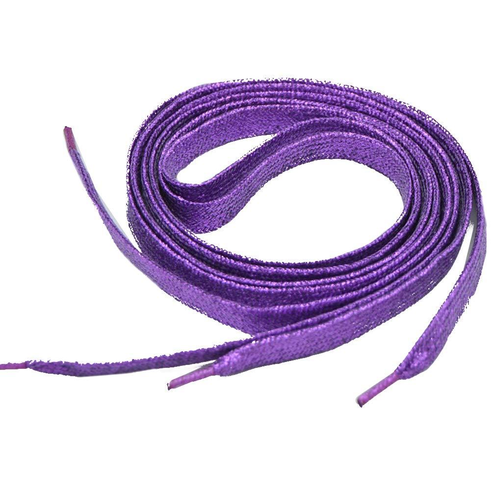 Acamifashion 1 Pair Metallic Glitter Flat Shoelaces Bootlaces Shoes Decoration 60-180cm Purple 180cm