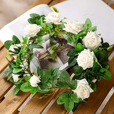 Veryhome Seda Artificial Rosa Flores Ivy Garland Vides Falsas Hojas de Plantas Colgantes para Banquete de Boda Jardín Pared de San Valentín Decoraciones (Blanco Versión Normal)