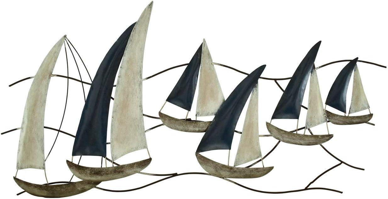 KLP Wanddeko Schiff Segelboot Metall Segel Boot Maritim Deko H/änger Skulptur Figur