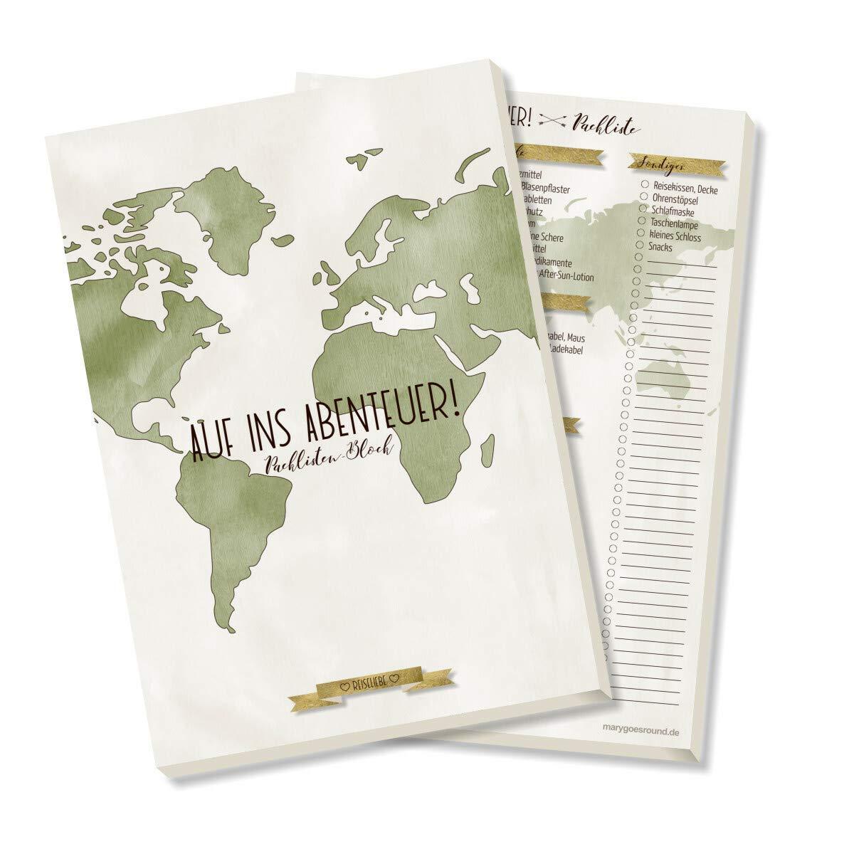 DIN A5 Packlisten-Block Kollektion: Reiseliebe Reisecheckliste zum Abhaken und Ausf/üllen 50 Blatt Reiseorganizer