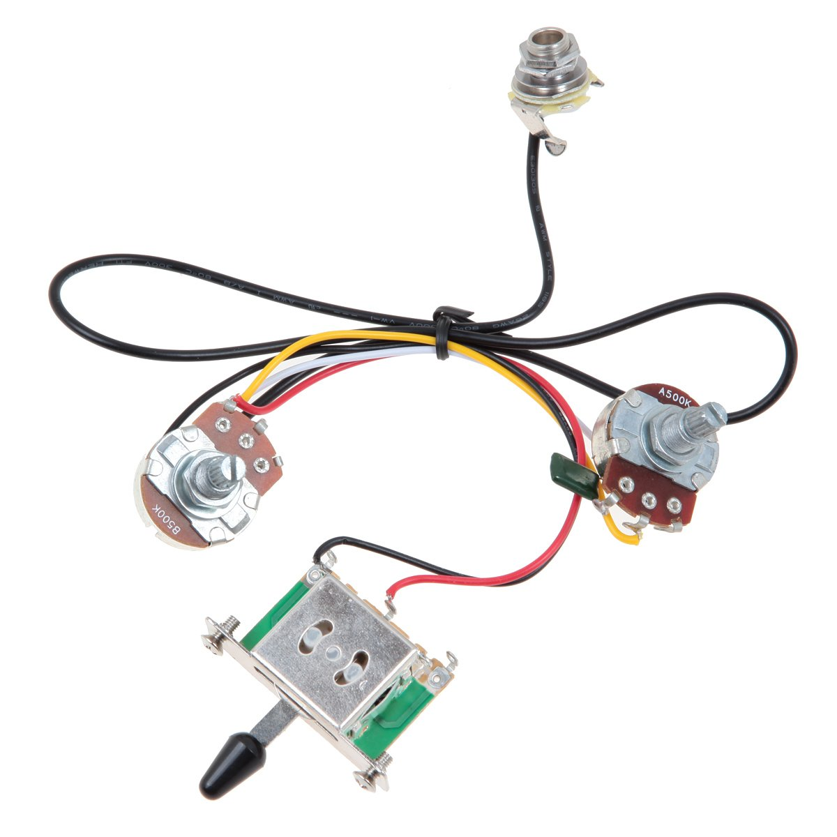 Amazon.com: Kmise MI0322 Two Pickup Guitar Wiring Harness, 3 Way Blade  Switch 500K, Great with Humbuckers: Musical Instruments
