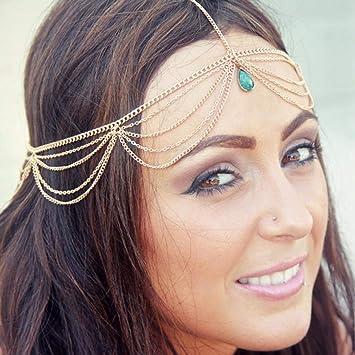 Fashion Women Girls Metal Head Chain Jewelry Headband Head Piece Hair band Gift
