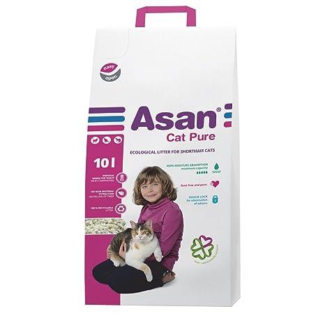 Asan 100% Arena Natural para Gatos con Elevada Absorción 10 L, Morado, Hurones