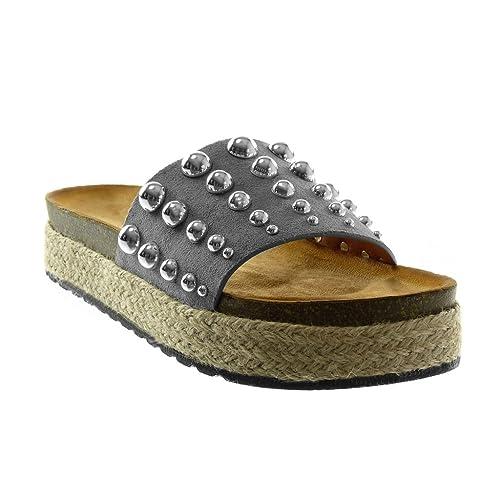 Angkorly - Zapatillas Moda Sandalias Mules Slip-on Plataforma Mujer Tachonado Perla Cuerda Plataforma 4 CM - Gris 2017-16 T 36: Amazon.es: Zapatos y ...