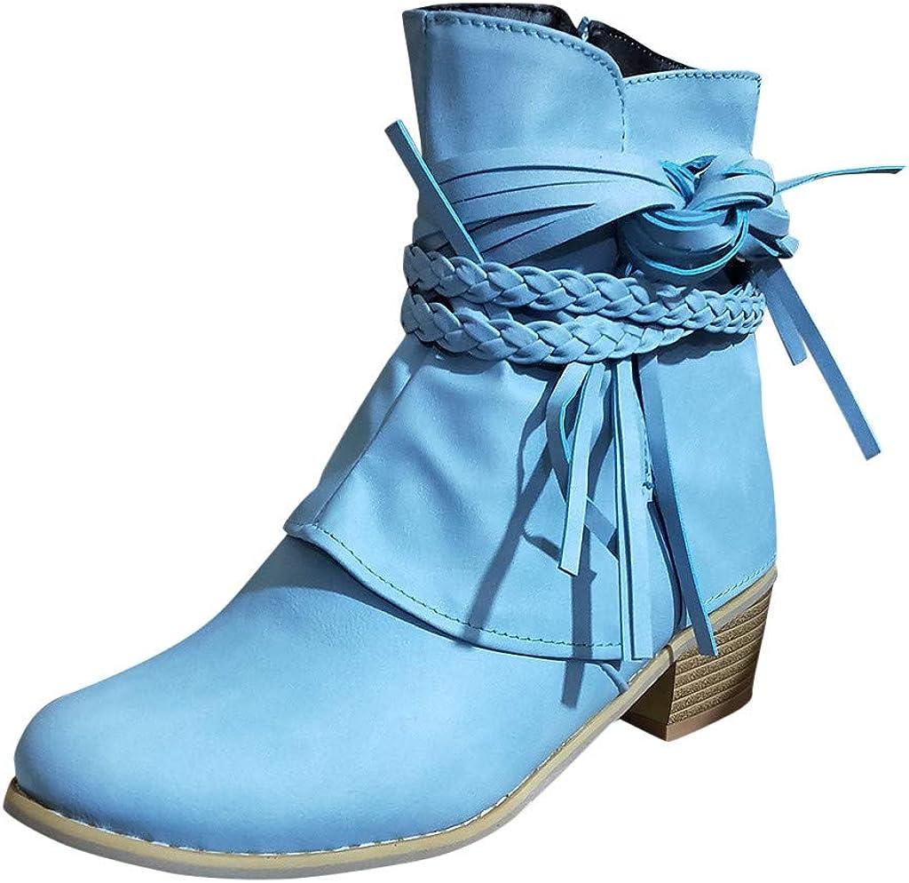 Luckycat Botas Militar para Mujer Botines Mujer Tacon Ancho Ante Cuero Tobillo Botas Piel Ankle Boots 7 Cm Cremallera Moda Comodos Verano Primavera Zapatos de tacón