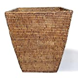 Saffron Trading Company Square Waste Basket 12(8)x14''H - Antique Brown