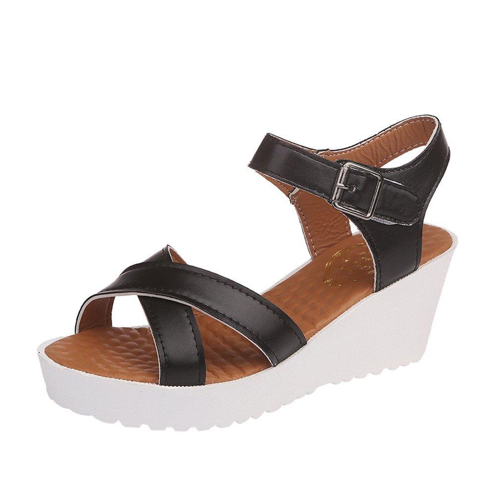 Sandalias correa de hebilla tacón alto, Sonnena Zapatos al aire libre para mujeres con punta redonda zapatos de fondo plano Tacones altos Sandalias de cuñas