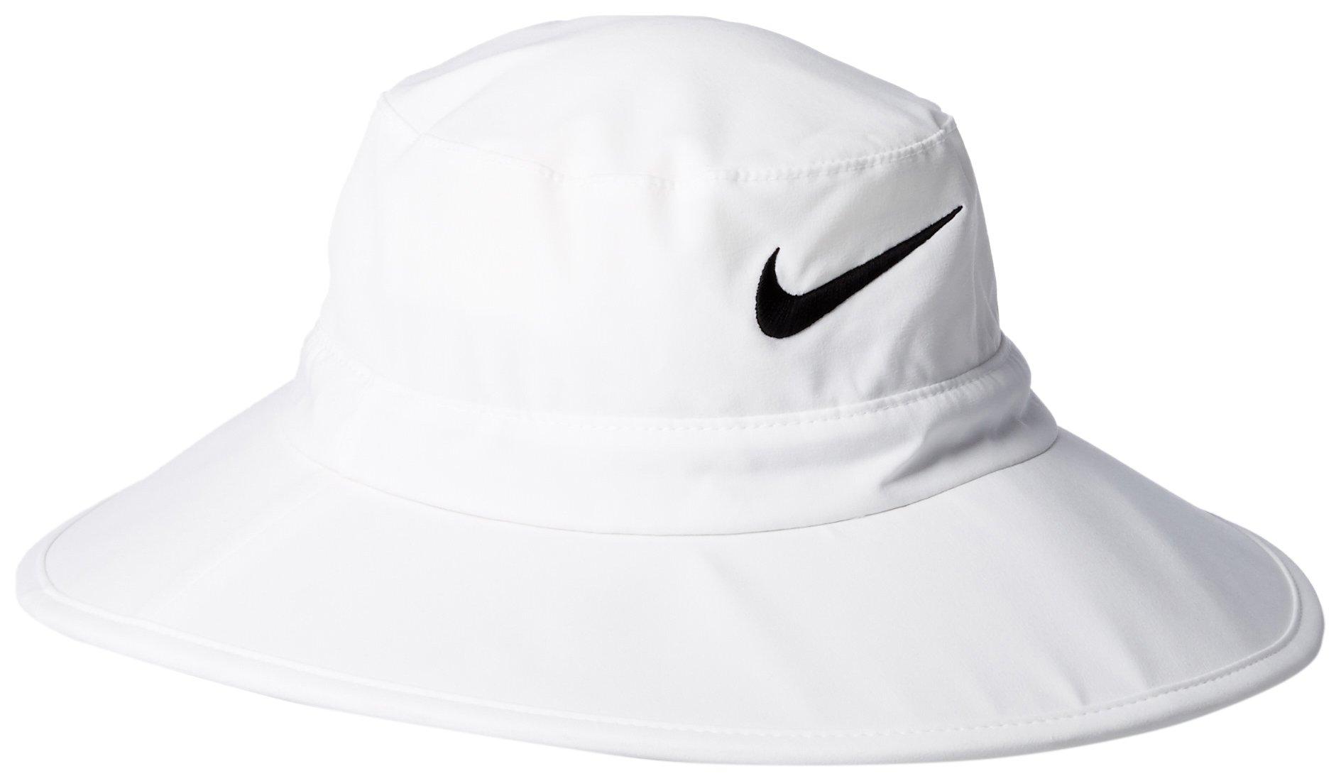 9b379593382 Galleon - Nike Golf Sun Protect Bucket Hat White Black (Medium Large)