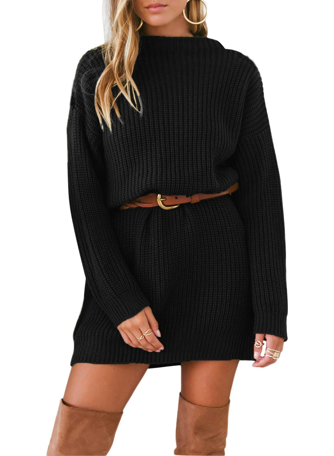 Asvivid Womens Long Sleeve Round Neck Knit Loose Solid Ladies Long Tunic Tops Pullover Mini Sweater Dress L Black